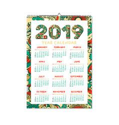 2019 year calendar xmas or happy new year holiday vector image
