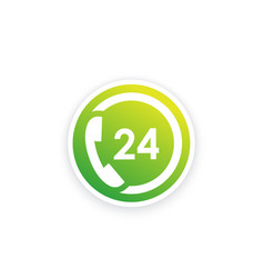 24 hour support service icon vector