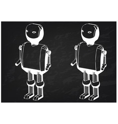 3d model of the robot on a black vector image