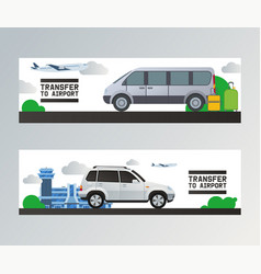 Airport transfer traveling by plane in vector
