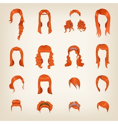Assortment of female red hair vector image