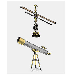 Astronomical telescope vintage engraved hand vector