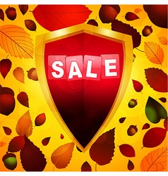 Autumn sale label over a shield vector image