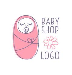 Bashop logo design emblem with sleeping vector