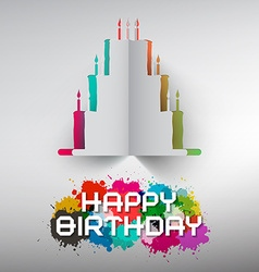 Birthday Paper Cut Cake with Colorful Splashes and vector image