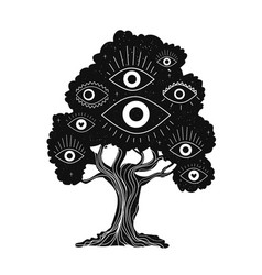 Black white with magic tree and eyes spiritual vector