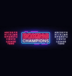 boxing champions neon sign boxing design vector image