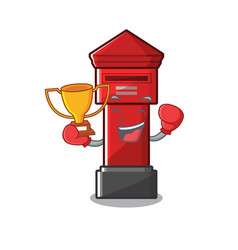 Boxing winner pillar box on a cartoon highway vector