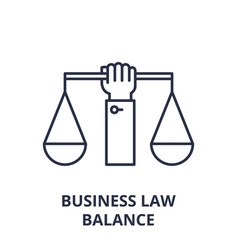 Business law balance line icon concept business vector