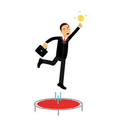 Businessman using a trampoline trying to catch an vector