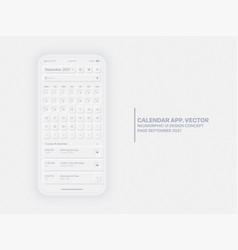 calendar app september 2021 ui ux neumorphic vector image