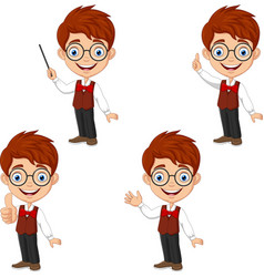 cartoon smart boy in different poses vector image