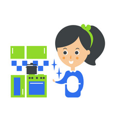 Cleanup service maid and clean kitchen cleaning vector