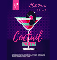 coctail party poster for nightclub with glass and vector image