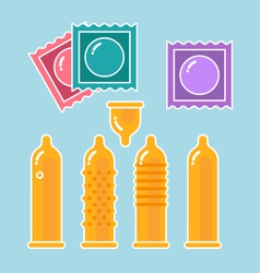 Condoms set and packages - contraception symbols vector