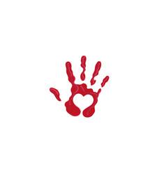 Creative abstract hand print heart logo vector