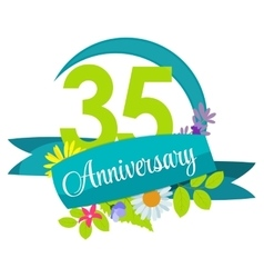 Cute nature flower template 35 years anniversary vector
