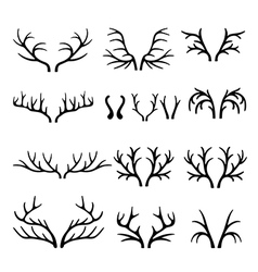 Deer antlers black silhouettes set vector