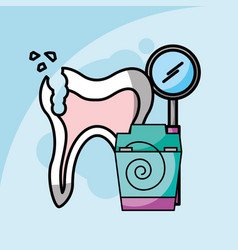 Dental care broken tooth floss and tool dentistry vector