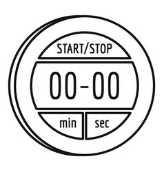 digital stopwatch icon outline style vector image