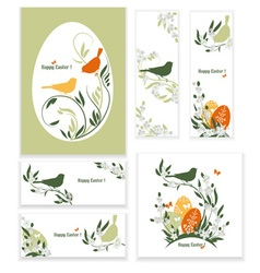 Easter eggs birds and flowers vector