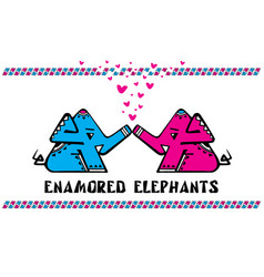 enamored elephants card declaration of love vector image