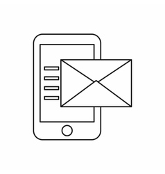 Envelope and smartphone icon outline style vector image