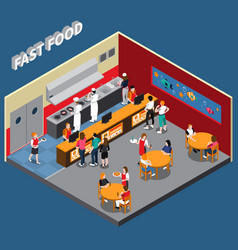 Fast food restaurant isometric vector