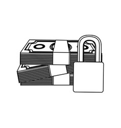 Figure many cash bills with padlock security vector