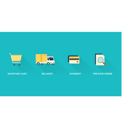 flat checkout icons vector image
