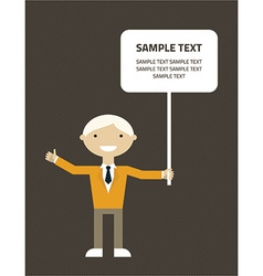 Flat design of businessman with message bubb vector