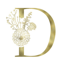 floral alphabet and serif letter vector image