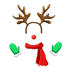 Funny christmas reindeer mask with antlers vector