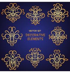 Golden decorative ethnic elements set vector image