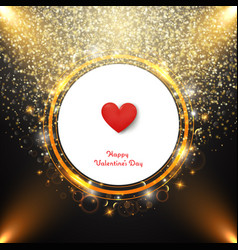 golden valentine day background with center heart vector image