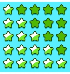 Green game rating stars icons buttons vector image