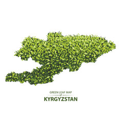 Green leaf map of kyrgyzstan of a vector