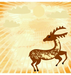 grunge background with a deer vector image