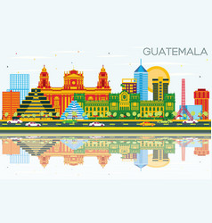 Guatemala skyline with color buildings blue sky vector