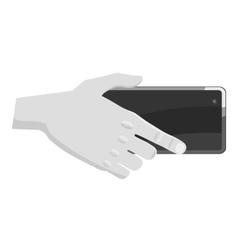 Hand holding mobile phone icon vector