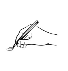 Hand holds pencil and writes vector