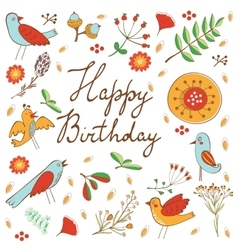 Happy Birthday card with flowers and birds vector
