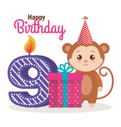 Happy birthday card with monkey vector