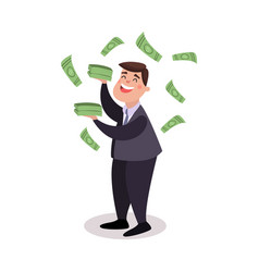 happy businessman character standing under money vector image