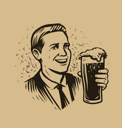 happy man with glass beer drawn in retro style vector image