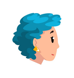 head of girl with blue dyed hair profile of young vector image
