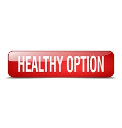 healthy option red square 3d realistic isolated vector image
