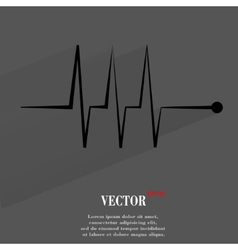 Heart rhythm Flat modern web button with long vector