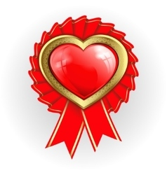 Heart with gold border and ribbons vector