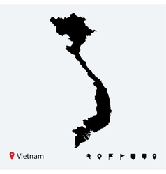 High detailed map vietnam with navigation pins vector